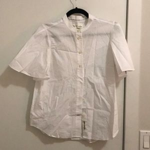 Kate Spade white button down flutter sleeve top M